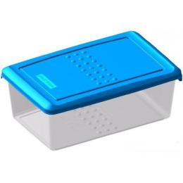 """Plast Team емкость для хранения продуктов """"Pattern. Голубой"""" прямоугольная прозрачный"""