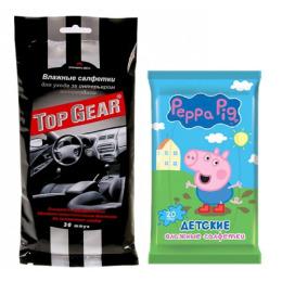 """Top Gear салфетки влажные автомобильные для интерьера с антистатическим действием, 30 шт + салфетки влажные """"Peppa Pig. Mix"""" детские, 20 шт"""