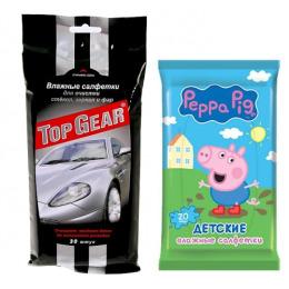 """Top Gear салфетки влажные автомобильные для стекол, зеркал и фар, 30 шт + салфетки влажные """"Peppa Pig. Mix"""" детские, 20 шт"""
