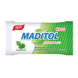 """Maditol салфетки влажные антибактериальные """"Подорожник"""" с еврохолом"""
