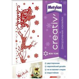 """Metylan наклейка """"Creative. Оленья упряжка"""" декоративная 33.5 х 47 см"""