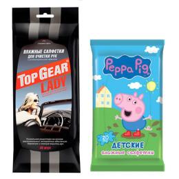 """Top Gear салфетки влажные """"LADY"""" для рук с антибактериальным эффектом 30 шт, салфетки влажные """"Peppa Pig. Mix"""" детские 20 шт"""