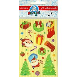 """Липуня гелевые наклейки """"Дед мороз и подарки"""" большие"""