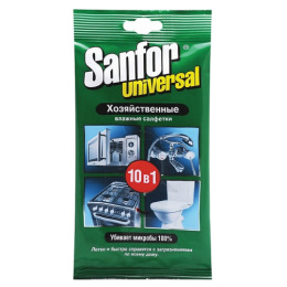 """Sanfor салфетки влажные хозяйственные """"Universal 10 в 1"""""""