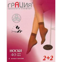 Грация носки 40 лайкра 2 пары загар