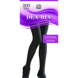 """Dea Mia колготки женские 1462 """"Cotton 200"""" однотонные, черные"""