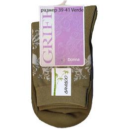 "Griff носки женские ""Donna D28"" Verde, орнамент по паголенку"