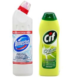 """Cif чистящий крем """"Актив. Лимон"""" 500 мл, средство чистящее """"DOMESTOS. Ультра белый"""" для унитаза 500 мл"""