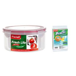 """Paclan набор круглых контейнеров """"Fresh Life"""" для продуктов 0,3, 0,68, 1,2 л + салфетки для чистки Practi нетканное полотно 38 х 38 см, 3 шт"""