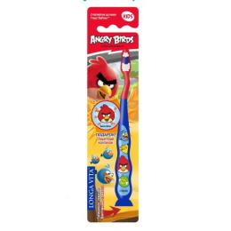 """Longa Vita зубная щетка детская """"Angry Birds"""" с защитным колпачком присоской 5+ лет"""