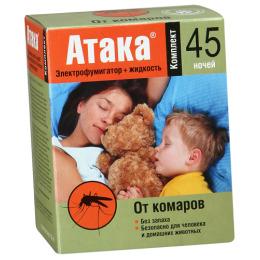 Атака комплект средство инсектицидное электрофумигатор+жидкость 45 ночей