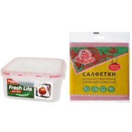 """Paclan контейнер """"Fresh Life"""" квадратный для продуктов 0,86 л, салфетки """"Матреша"""" из нетканого полотна 30 х 30 см 3 шт"""