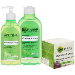 """Garnier набор """"Основной уход"""" гель для умывания """"Очищающий"""" 200 мл + крем """"Увлажняющий"""" защитный для нормальной смешанной кожи, 50 мл + тоник """"Освежающий"""" 200 мл"""