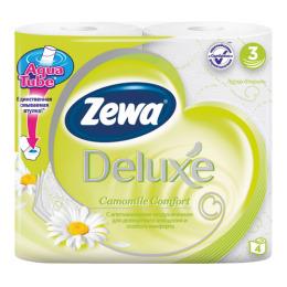 """Zewa туалетная бумага """"Делюкс"""" 3 слойная с ароматом ромашки, 4 шт"""
