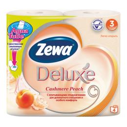 "Zewa туалетная бумага ""Делюкс"" 3 слойная с ароматом персика, 4 шт"