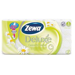 """Zewa туалетная бумага """"Делюкс"""" 3 слойная с ароматом ромашки, 8 шт"""