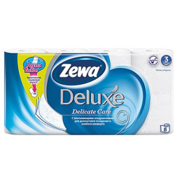 "Zewa туалетная бумага ""Делюкс"" 3 слойная, тон белая, 8 шт"