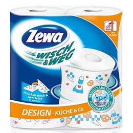 """Zewa полотенца кухонные """"Wisch & Weg"""" 2 слойные с рисунком"""