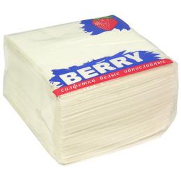 "Berry салфетки ""Белые"" 1-слойные, 25 х 25 см"