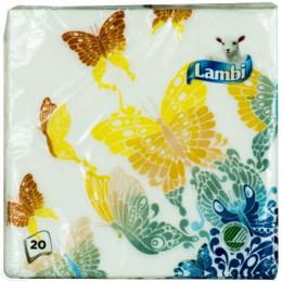 """Lambi салфетки """"Цветные"""" 2-х слойные с рисунком 33х33см"""
