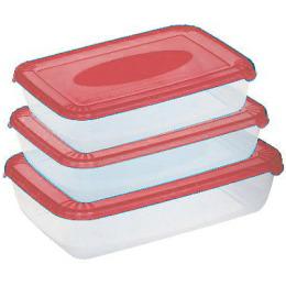 """Plast Team набор емкостей для хранения пищевых продуктов """"Polar. Коралловый"""" прямоугольных 450 мл, 900 мл, 1.9 л"""