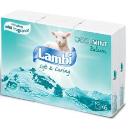 """Lambi платки носовые """"CoolMint"""" 4-х слойные с ментолом белые с тиснением по периметру"""