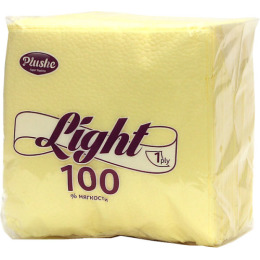 """Plushe салфетки """"Light желтый пастель"""" сплошное 1 слой"""