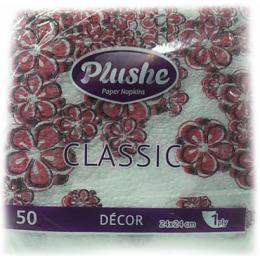"Plushe салфетки ""Classic. Decor. Цветы завитки"" 24 х 24 см, 1 слой"
