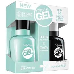 "Sally Hansen набор верхнее покрытие-гель ""Miracle Gel Top Coat"" 14.7 мл + гель-лак для ногтей ""Miracle Gel"" 14.7 мл"