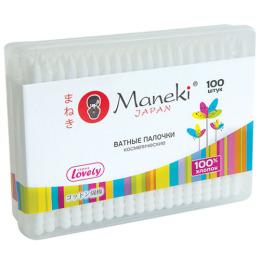 """Maneki палочки ватные косметические """"Lovely"""" с белым пластиковым стиком в пластиковой коробке"""