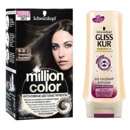 """Million Color краска для волос """"Натуральный Каштановый, тон 5.0""""+ бальзам Gliss Kur """"Ши Кашемир"""""""