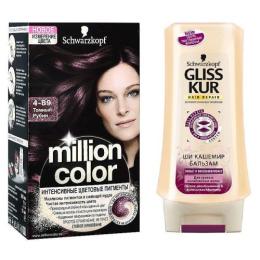 """Million Color краска для волос """"Темный Рубин, тон 4.89""""+ бальзам Gliss Kur """"Ши Кашемир"""""""