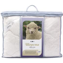 """Мягкий сон одеяло """"Стандартное. Шерсть овечья. Бязь. Белое на бежевом"""" 172х 205, 320г/м2 в пакете п/э вакуум"""