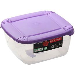 """Plast Team емкость для хранения пищевых продуктов """"Polar. Сиреневая"""" квадратная"""
