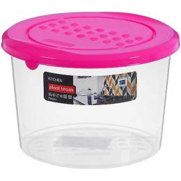 """Plast Team емкость для хранения продуктов """"Pattern. Светло-розовая"""" круглая"""