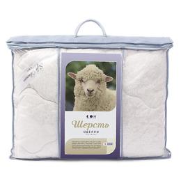 """Мягкий сон одеяло облегченное """"Шерсть овечья"""" 200х220 Бязь, Белое на голубом"""