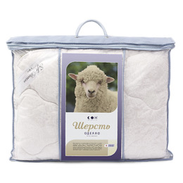 "Мягкий сон одеяло ""Стандартное Шерсть овечья"" 140х205 Бязь,Бирюза"