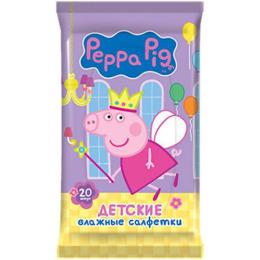Peppa Pig влажные салфетки детские шоу бокс, 20 шт
