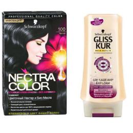"""Nectra Color краска для волос 100 """"Черный"""" + GLISS KUR Бальзам """"Ши Кашемир"""" 200 мл"""