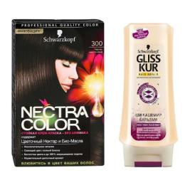 """Nectra Color краска для волос 300 """"Черно-каштановый"""" + GLISS KUR Бальзам """"Ши Кашемир"""" 200 мл"""
