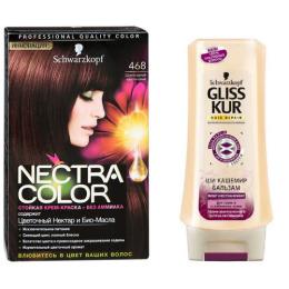 """Nectra Color краска для волос 468 """"Шоколадный каштановый"""" + GLISS KUR Бальзам """"Ши Кашемир"""" 200 мл"""