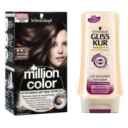 """Million Color краска для волос 5-6 """"Магнетический Каштановый"""" + GLISS KUR Бальзам """"Ши Кашемир"""" 200 мл"""