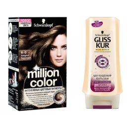 """Million Color краска для волос 6-0 """"Холодный Каштановый"""" + GLISS KUR Бальзам """"Ши Кашемир"""" 200 мл"""