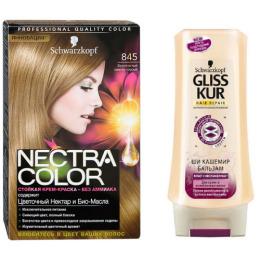 """Nectra Color краска для волос 845 """"Золотистый светло-русый"""" + GLISS KUR Бальзам """"Ши Кашемир"""" 200 мл"""