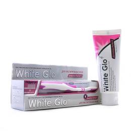 White Glo зубная паста отбеливаюшая для чувствительных зубов 150 г + зубная щетка + зубочистки