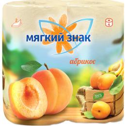 """Мягкий знак туалетная бумага """"Deluxe. С ароматом абрикоса"""" 2х слойные, 4 шт"""
