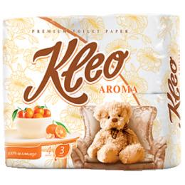 """Мягкий знак туалетная бумага """"Kleo. С ароматом мандарина"""" белая 3х слойная"""