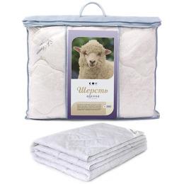"""Мягкий сон одеяло """"Стандартное. Шерсть овечья"""" 200х220 Бязь 2-х сторонее стеганое полотно в чемодане пвх"""