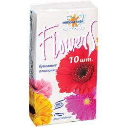 """Мягкий знак платочки бумажные """"Flowers"""" белые 2х слойные"""