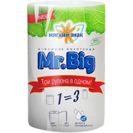 "Мягкий знак полотенца бумажные ""Mr.Big"" белые 2х слойные"